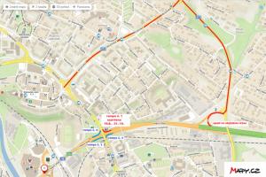 Náhled mapy znázorňující uzavírku mostu TGM